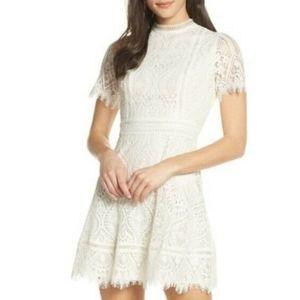 BB DAKOTA on List Short Sleeve Lace FitFlare dress
